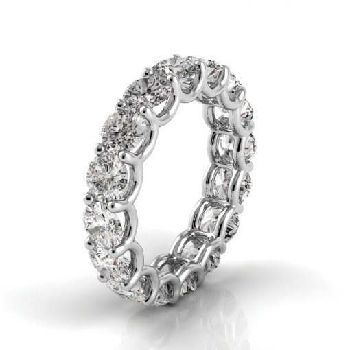 5.5 TCW Round Diamond U-Prong Set Eternity Band in White Gold (F-G COLOR, VS2 CLARITY)
