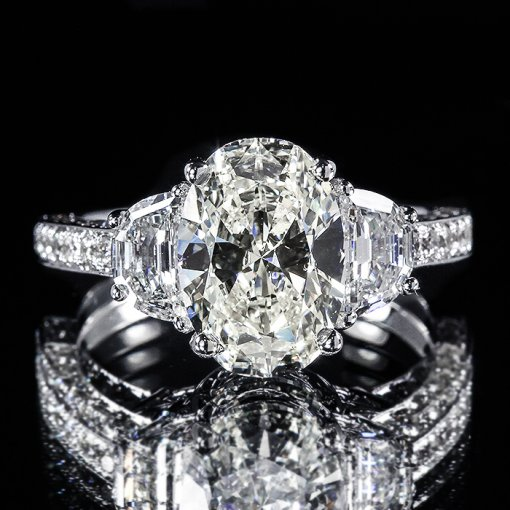4.56ct GIA Oval 18K Gold 3 Stone Half Moon Pave Engagement Ring F/SI1