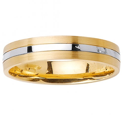 Two Tone Gold Brush and Polished 3 Row Flat Wedding Ring 4mm