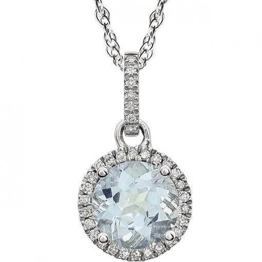 0.1ct Round 14kt White Aquamarine  Diamond Pendant