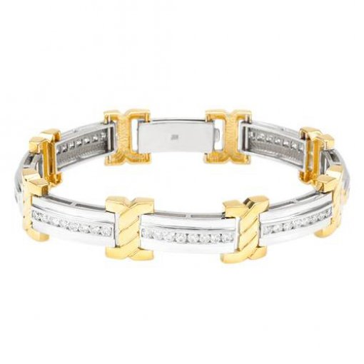 High Quality 4.00ctw diamond bracelet in 14k two tone gold
