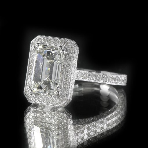 2.6ct GIA  18K White Gold Emerald Cut Diamond Engagement Ring H/SI1