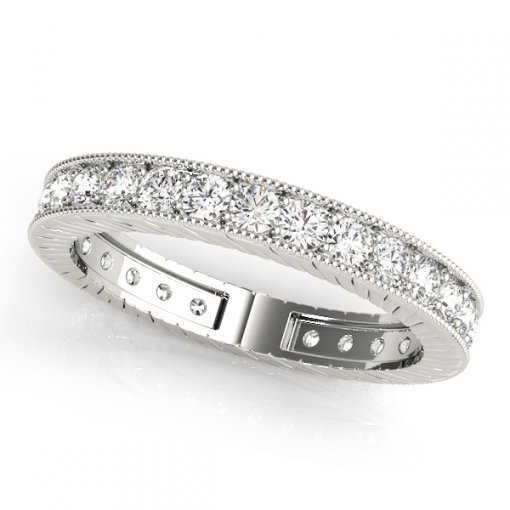 1 TCW Round Diamond Vintage Channel Set Eternity Band in Platinum (G-H COLOR, VS2-SI1 CLARITY)