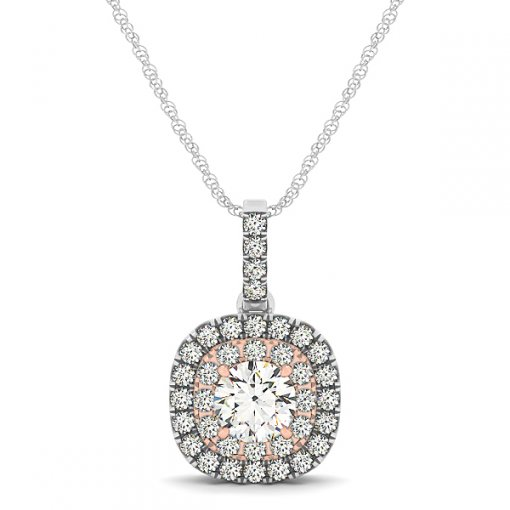 Double Halo Cushion Outline Diamond Pave Drop Pendant (0.53 CTW)