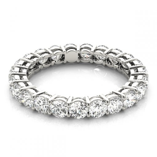 5.0 TCW Round Diamond Open Gallery Shared Prong Set Eternity Band in Platinum (F-G COLOR, VS2 CLARITY)