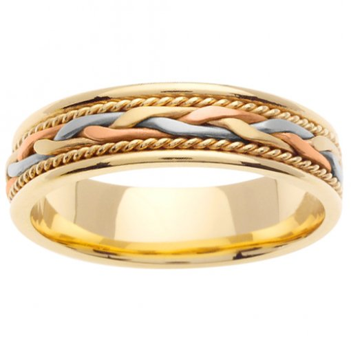 Tri-Color Cord and Wheat Braid Wedding Band 5mm