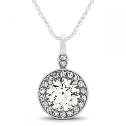 Shared Prong Diamond Halo Pendant With Edge Set Diamonds (Setting)
