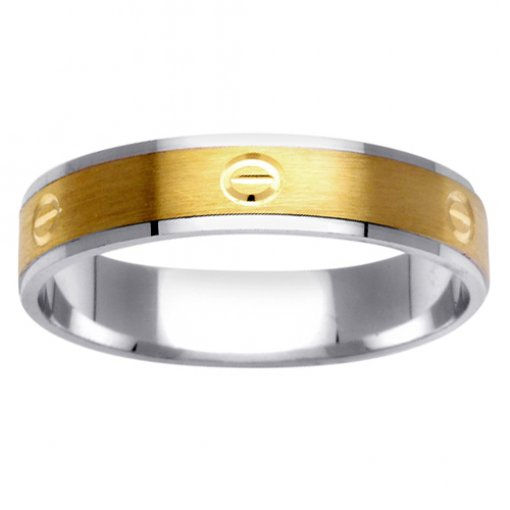 Two Tone Gold Screw Head Carved Textured Wedding Ring 4mm