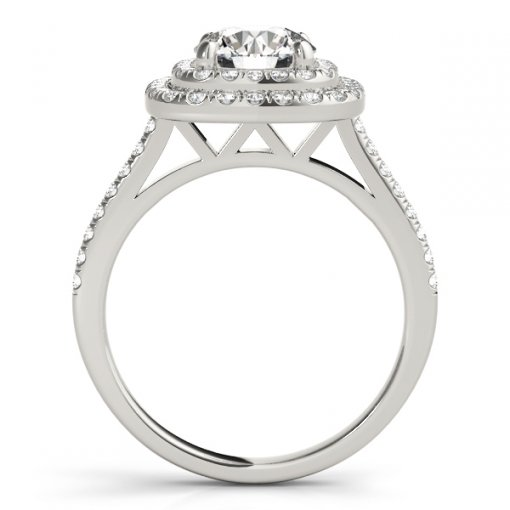 U Pave Double Square Diamond Halo Engagement Ring in White Gold (0.55 CTW)