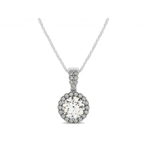 U Pave Set Halo Diamond Pendant CTW 0.4375