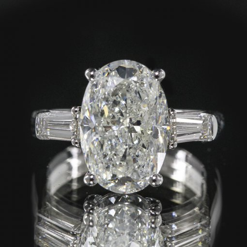 2.35ct GIA  18K White Gold Oval Cut Diamond Engagement Ring F/SI1