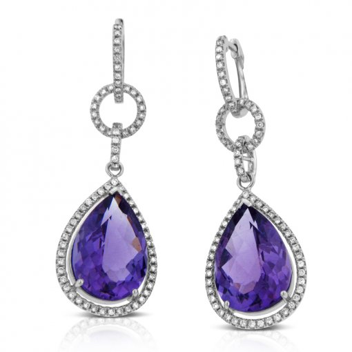 12.01CT  Round 14KW  0.75CT SI1-SI2/H-I  Amethyst Pearshape H-I/SI1-SI2 ()
