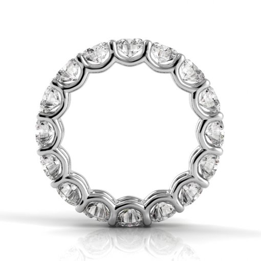 6.5 TCW Round Diamond U-Prong Set Eternity Band in White Gold (F-G COLOR, VS2 CLARITY)
