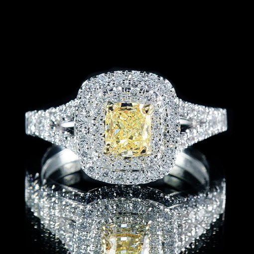 1.26ct GIA Cushion 14K Two Tone Double Halo Engagement Ring Fancy Yellow/VS2 (5161330755)