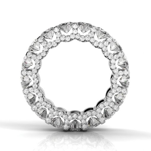 6 TCW Oval Diamond U-Shape Pave Set Eternity Band in White Gold (G-H COLOR, VS2-SI1 CLARITY)