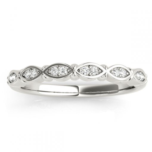 0.09ctw Marquise Outline Round Diamond Wedding Ring