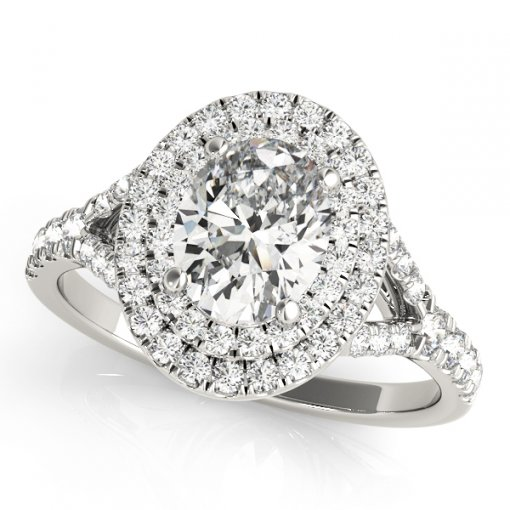 0.45ct Double Diamond Oval Pave Split Shank Halo Engagement Ring