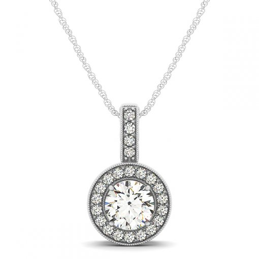 Milgrain Edge Diamond Halo Filigree Gallery Pendant CTW 0.47