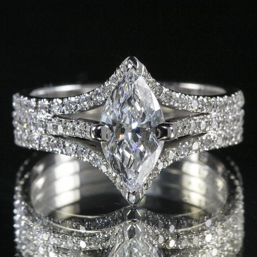 3.26ct GIA  18K White Gold Marquise Cut Diamond Engagement Ring H/SI1