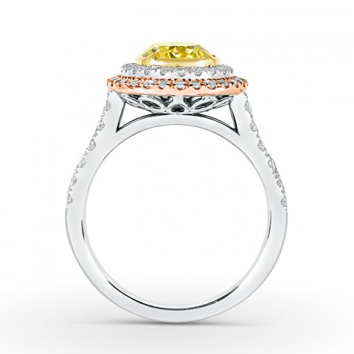 2.61ct GIA Oval 18K White Gold Double Halo Engagement Ring Fancy 1ntense Yellow/SI1 (13291035)