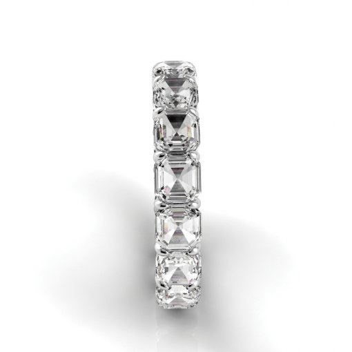 4 TCW Asscher Diamond Petite Prong Set Eternity Band in White Gold (G-H COLOR, SI1 CLARITY)