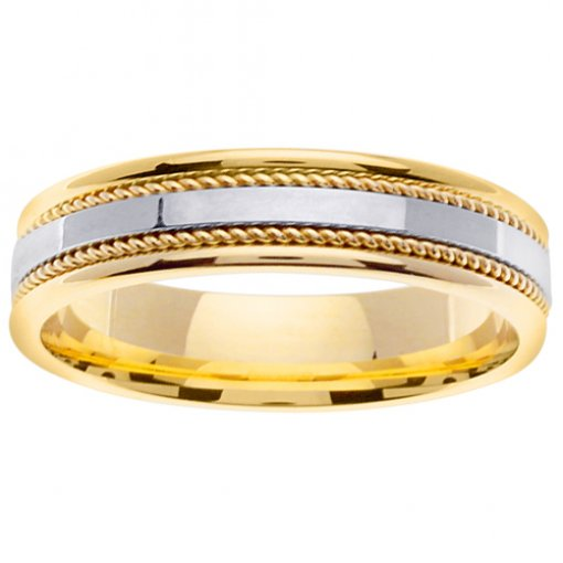Two Tone Gold High Polish Cord Inlay Wedding Ring 4mm