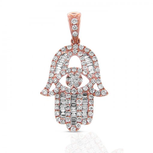 Hamsa Pendant in 18K Rose Gold (0.63 CTW)