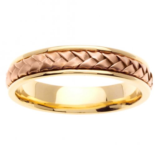 Hand Braided Two Tone Gold Hand Braided Wedding Band 4.5mm