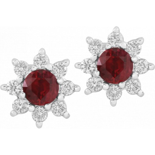 0.86ctw Red Round Cut Ruby Gemstone Diamond Cluster Earrings
