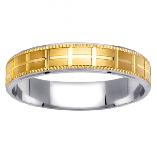 Two Tone Gold Grid Pattern Milgrain Edge Wedding Ring 4mm