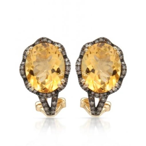 4.6CT  Oval 14KY 4.37Citrine+0.23Brn Diamond Earrings / ()
