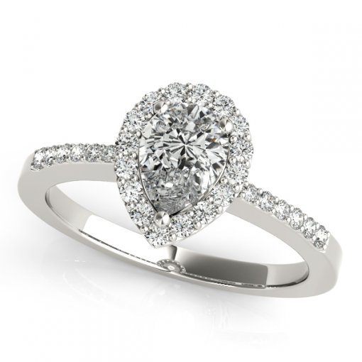 0.25ctw Pear Halo Basket Gallery U Pave Engagement Ring