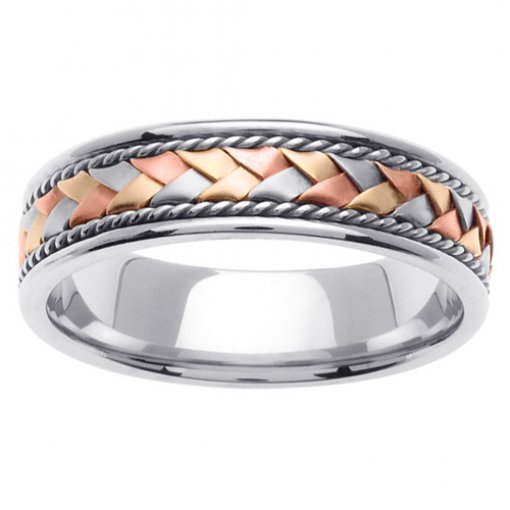 Tri-Color Gold Braided and Twist Cord Wedding Ring 5mm