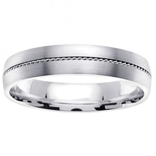 White Gold Brush Finish Narrow Cord Inlay Wedding Band 4mm