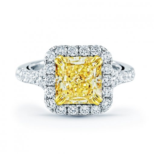 3.8ct EGL Radiant 18K White Gold  Ring Fancy Intense Yellow/VS2 (908421503)