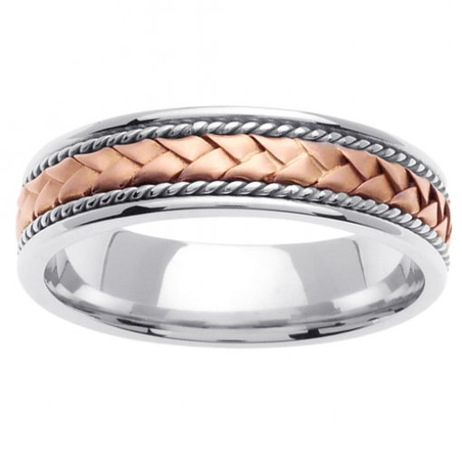 Two Tone Gold Cord and Braided Wedding Band 5mm