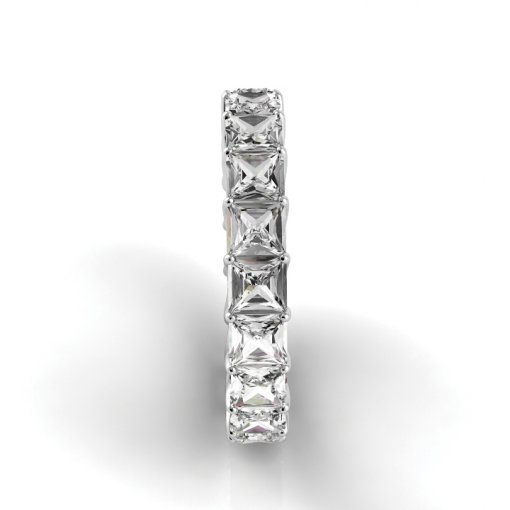4 TCW Princess Diamond Trellis Set Eternity Band in White Gold (G-H COLOR, VS2-SI1 CLARITY)