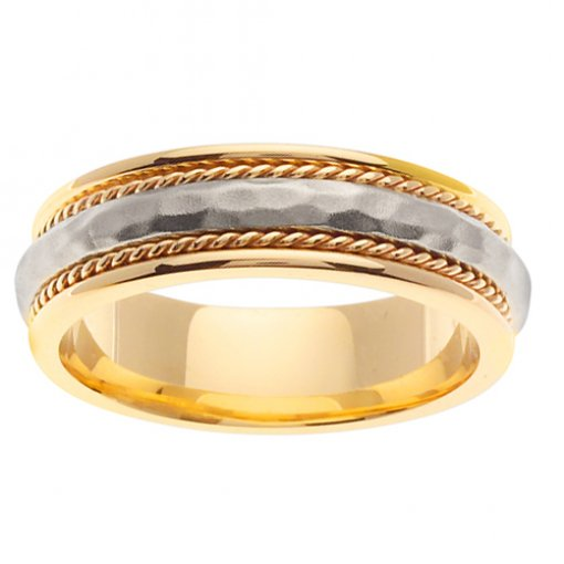 Two Tone Gold Hammer Finish Cord Domed Center Wedding Band 5mm