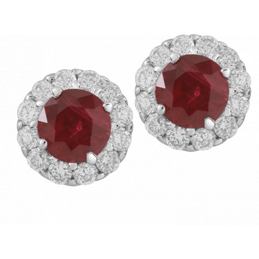 1.30ctw Red Round Cut Ruby Gemstone Diamond Pave Halo Earrings