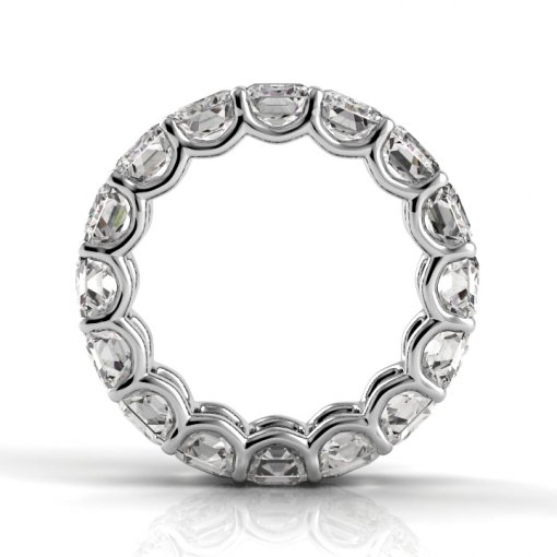 5.5 TCW Emerald Diamond U-Prong Set Eternity Band in White Gold (F-G COLOR, VS2 CLARITY)