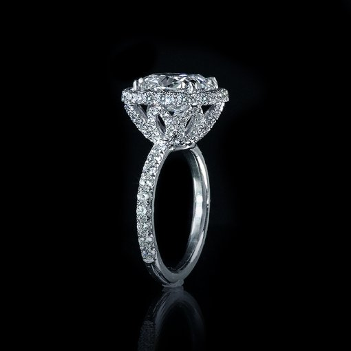 2.11ct GIA  18K White Gold Cushion Diamond Engagement Ring F/VS2