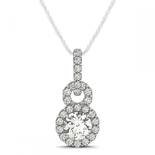 Stacked Circle Halo Shared Prong Diamond Drop Pendant (Setting)
