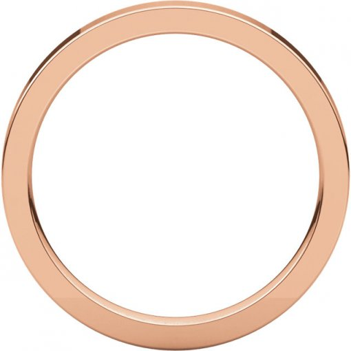 14K Rose Gold Gold 2.5mm Comfort Flat Classic Wedding Band