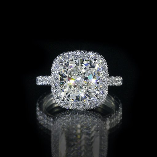 3.1ct GIA  18K White Gold Cushion Diamond Engagement Ring H/SI1