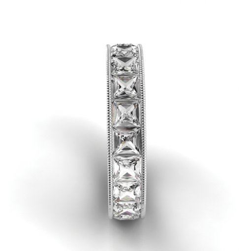 3 TCW Princess Diamond Channel Set Eternity Band in White Gold (F-G COLOR, VS2 CLARITY)
