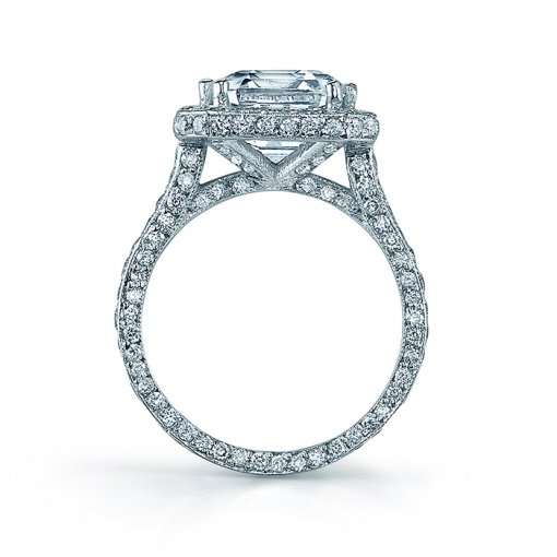 1 CTW Vintage Style Pave Halo Ring