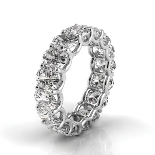 7 TCW Oval Diamond U-Prong Set Eternity Band in White Gold (F-G COLOR, VS2 CLARITY)