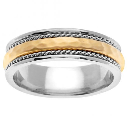 Two Tone Gold Hammer Finish Cord Curved Center Wedding Band 5mm