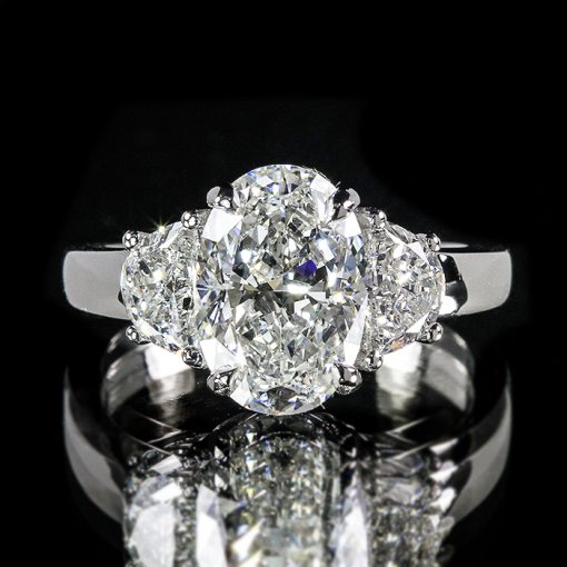 2.81ct GIA Oval 18K White Gold Half Moon Three Stove Engagament Ring G/VS2