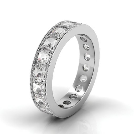5.5 TCW Asscher Diamond Channel Set Eternity Band in White Gold (F-G COLOR, VS2 CLARITY)